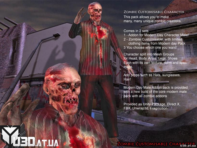 Arteria3d ZOMBIE MALE BASE PACK